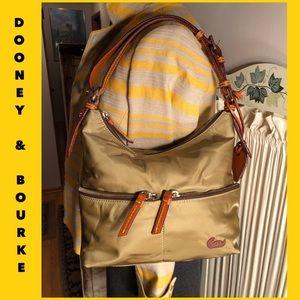 NWOT-DOONEY & BOURKE TAN NYLON/BROWN LEATHER BAG